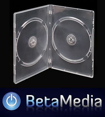 10 x Double Clear 14mm Quality CD / DVD Cover Cases - Standard Size DVD case
