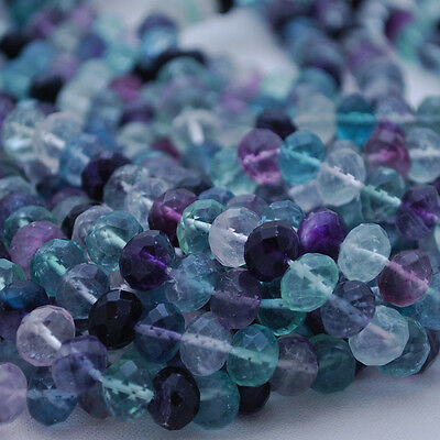 30 Semi Precious Gemstone Rainbow Fluorite Faceted Rondelle Beads 8x6mm 10x8mm
