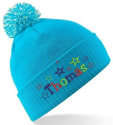Boys Personalised Winter Bobble Hat - Boys Star Design  With Name Embroidered!