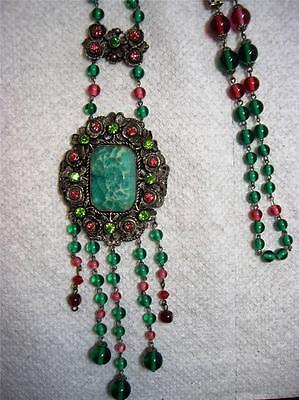 Long Vintage Czech Style Pink & Green Glass Bead Rhinestone Dangle Necklace