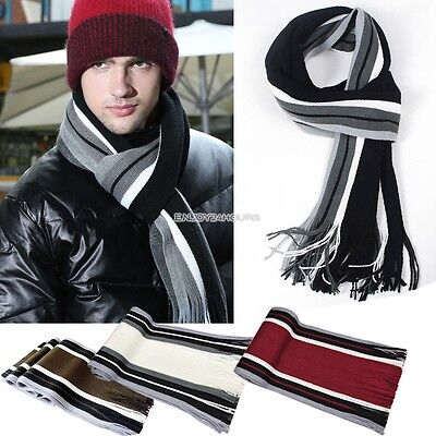 Mens Classic Wool Shawl Winter Warm Long Fringe Striped Tassel Scarf Fashion