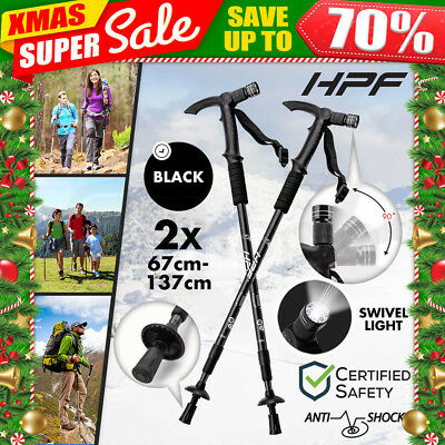 NEW HPF Hiking Trekking Poles Walking Sticks Camping LED Anti Shock Adjustable