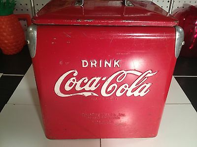 Vintage Miniature Coca-Cola Metal Cooler-Red with White Letters-TempRite MFG 6pk