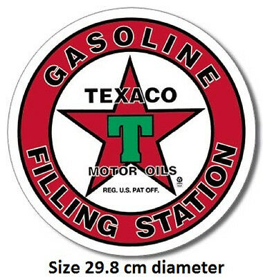 1936 Texaco Filling Station Metal Round Tin Sign 205  Large Variety