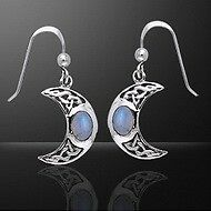 Exquisite Irish Celtic Knotwork Silver Crescent Moon Earrings - .925 sterling