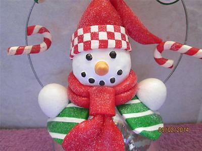Holiday Christmas Snowman With Candy Glass Ball Ornament
