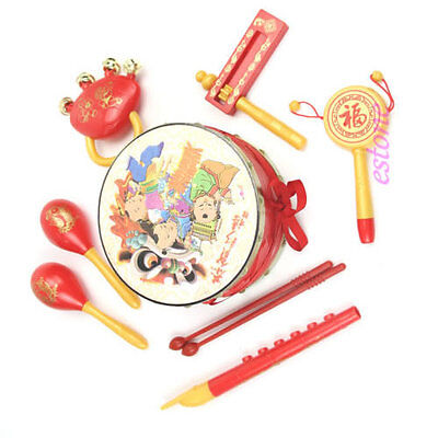 Roll Drum Musical Instruments Band Drum Sand Hammer Bell Kit Kids Toy Gift Set