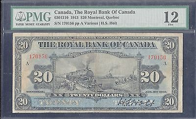 "1913 $20.00 ""train"" Note Royal Bank Of Canada Rare Signed Pmg 12 Fine Wl4957 Mkc"