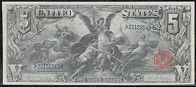 """FR269 $5.00 """"EDUCATION"""" 1896 SILVER CERTIFICATE SOLID VF+ WL3681"""