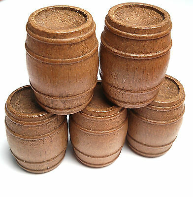 5 x Solid Walnut Barrels For Model Ships, Scenery or Models Various Size Options