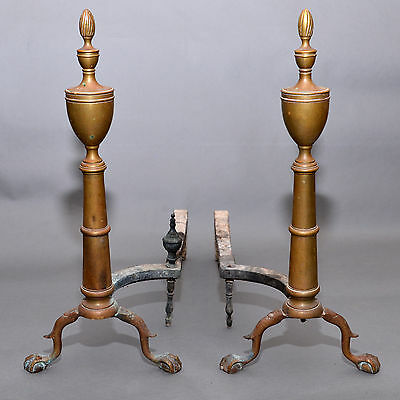 Antique Pair of PURITAN Spire Top EAGLE CLAW  Brass Fireplace Andirons