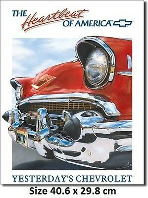 Chevrolet 1957 Heartbeat of America Tin Sign 820 -  Large Variety