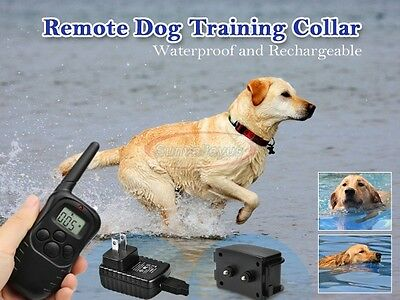 TOP RECHARGEABLE LCD Shock Vibrate REMOTE TRAINING COLLAR for Medium/Large Dog