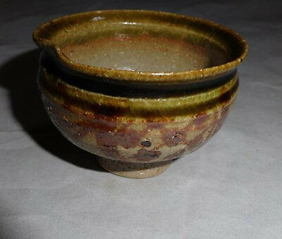 Rare Japanese Antique Good Taste Vintage Tea Ceremony Oribe Pottery Tea Bowl ③