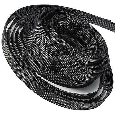 4mm-30mm Expandable PET Braided Cable Wire Sleeving High Density 1m-10m Black