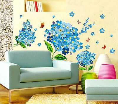 New Home Decor Wall Sticker Art Removable Decoration Mural Decal Blue Flower