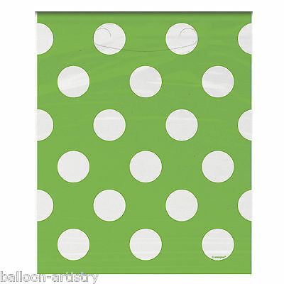 8 GREEN White Polka Dot Spot Style Party Gift Treat Favour Plastic Loot Bags