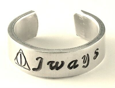 Always Harry Potter Inspired Deathly Hallows Ring Hand Stamped Adjustable