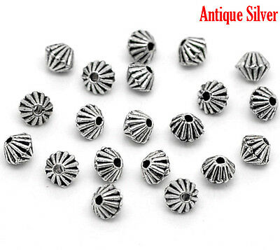 200Pcs Silver Tone HOTSELL Bicone Spacer Beads Findings