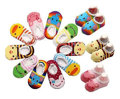 10 pairs/lot Baby Toddler Girl Boy Anti-Slip Socks Shoes Slipper for 6-24 Months