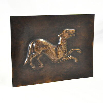Messingplatte Motiv Hund (plate bass dog)