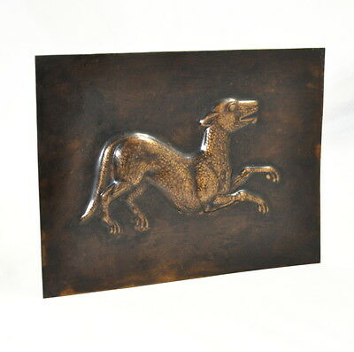 Messingplatte Motiv Hund (plate brass dog)