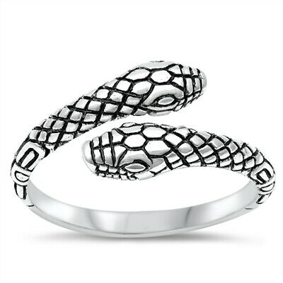 .925 Sterling Silver Lucky Double Headed Snake Fashion Ring Size 5 6 7 8 9 10