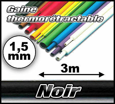 Gaine thermo 1,5 mm 3m noir ratio 1/2 gaine thermorétractable