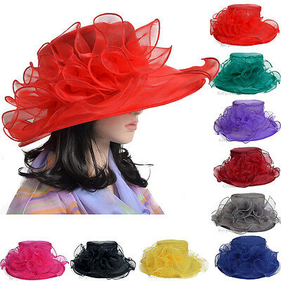 Lady Church Kentucky Derby Hat Sheer Wide Brim Dress Wedding Tea Party