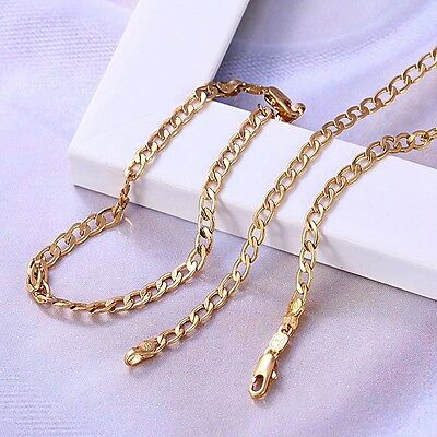 "MEN Women 9ct ""GOLD FILLED""CURB CHAIN 24"" NECKLACE & 7.5"" BRACELET SET.W=4mm,826"