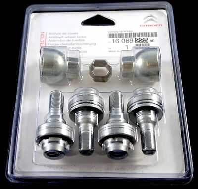 Citroen Alloy Wheel Locking Wheel Nut Bolt Set + 1 Keys New Genuine 1612616480