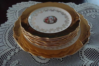 Vintage  W S GEORGE figural and gold LIDO set of cake platter and 6 cake plates