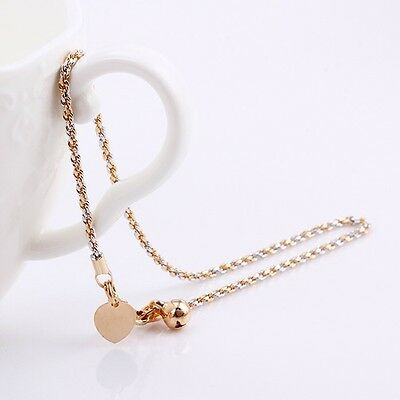 """11.02/"""" 2165 9K 9ct Yellow /""""Gold FILLED/"""" Ladies Bell ANKLE CHAIN Hearts ANKLET"""
