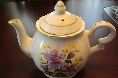 Teapot Made in Japan hand decorated with purple flowers