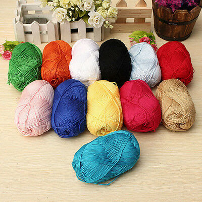 12Color Fingering Durable Natural Smooth Woolen Cotton Bamboo Knitting Yarn Lot