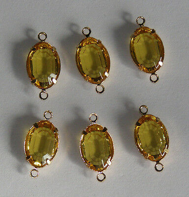 VINTAGE 6 JONQUIL YELLOW GLASS OVAL CONNECTOR BEAD 8 x 12mm CHANNEL SET