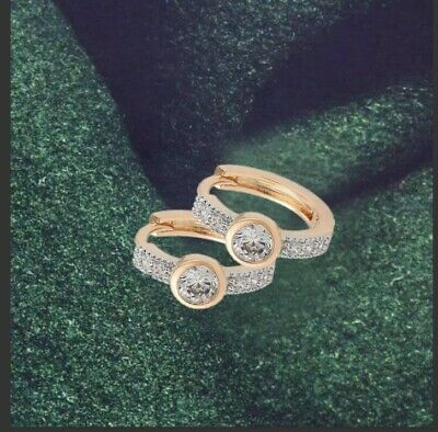 """9ct 9K Yellow & White """"Gold Filled"""" White Crystals Small Hoop Earrings 14mm Gift"""
