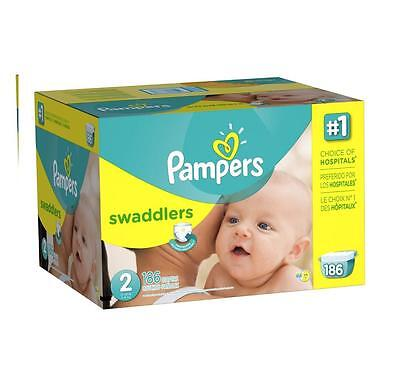 NEW Pampers Swaddlers Diapers Baby Economy Wetness Indicator SIZE 2 - 186 COUNT