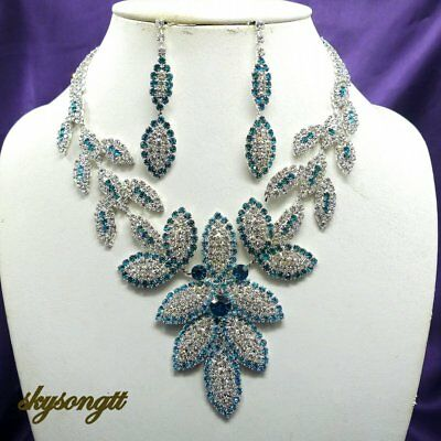 Austrian Sapphire Blue Rhinestone Crystal Leaf Party Necklace Earring Set S1564N