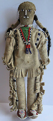 Antique Sioux Indian Beaded Leather Real Hair Indian Man Doll
