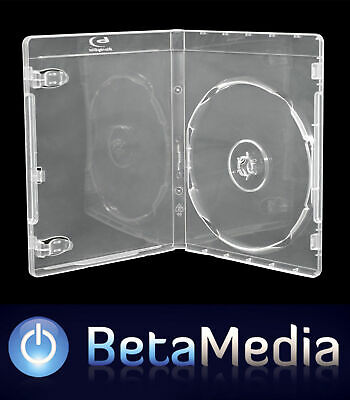 10 x Clear Blu Ray Single 12mm Quality Cases with logo - U.S Standard Size
