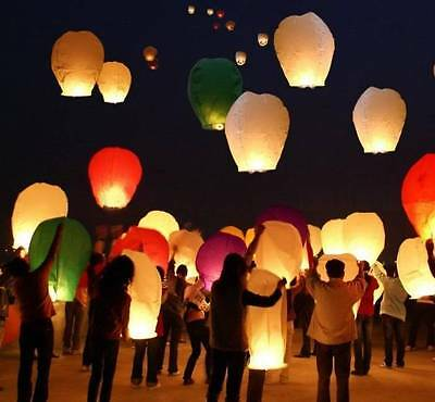 20 Paper Chinese Sky Wish Lanterns Fly Candle Lamp Wish Party Wedding US Seller