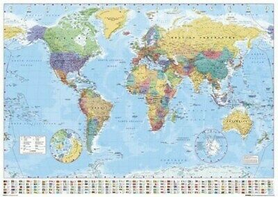 World Map Poster Ii - With World Flags - Hot New 24X36 - Print Image Photo -A10