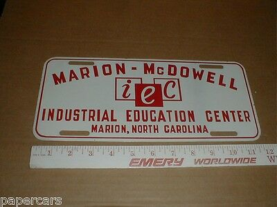 Marion McDowell Industrial College NC Vintage Metal License Plate car tag sign