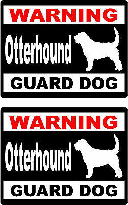 2 warning Otterhound guard dog bumper home car window vinyl stickers