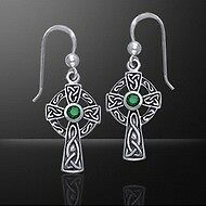 Irish Celtic Knotwork Sterling Silver Cross Earrings with choice of gemstone