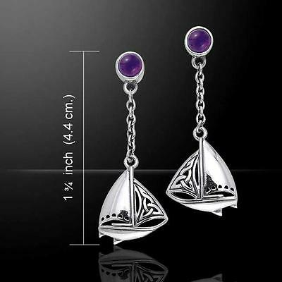 Celtic Knots Silver SAILBOAT Earrings  - Perfect gift for a sailing enthusiast