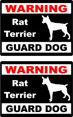 2 warning Rat Terrier guard dog breed bumper home car window vinyl stickers