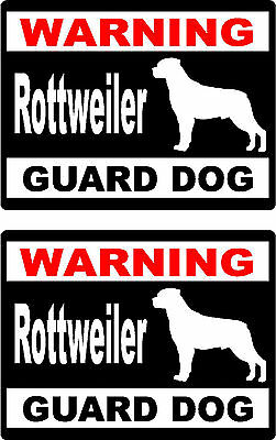 2 warning Rottweiler guard dog breed bumper home car window vinyl stickers