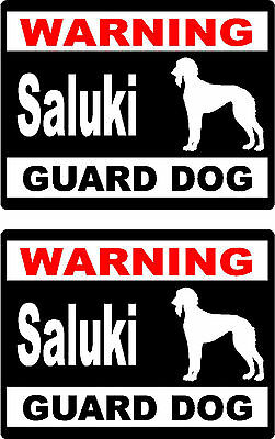 2 warning Saluki guard dog breed bumper home car window vinyl stickers